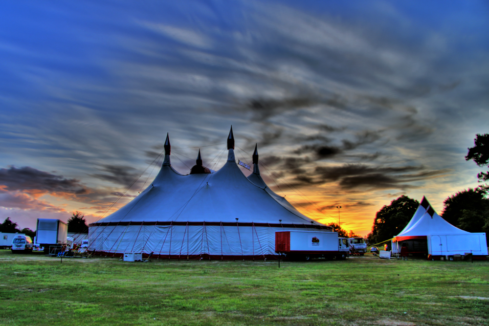 A big circus tent at dawn